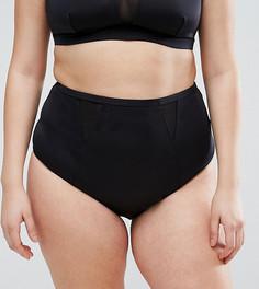 Поддерживающие плавки бикини с сетчатыми вставками ASOS CURVE - Черный