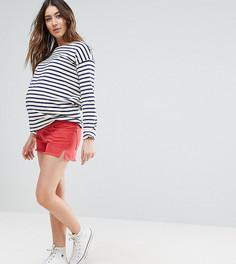 Красные джинсовые шорты с разрезами по бокам ASOS MATERNITY - Красный