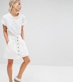 Белая короткая джинсовая юбка на пуговицах ASOS PETITE - Белый