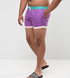 Фиолетовые короткие шорты для плавания с отделкой по краю ASOS PLUS - Фиолетовый