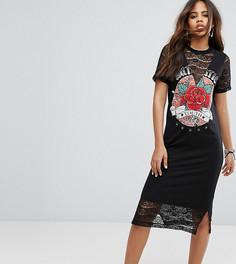 Платье-футболка миди с кружевными вставками и принтом ASOS TALL - Мульти