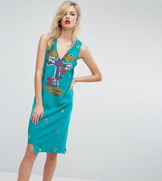 Платье-майка миди с люверсами и принтом ASOS TALL - Мульти