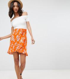 Мини-юбка с запахом, цветочным принтом и поясом ASOS TALL - Мульти
