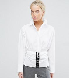 Хлопковая рубашка с корсетной вставкой ASOS PETITE PREMIUM - Белый