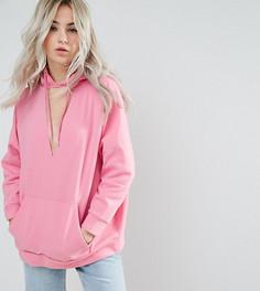 Оверсайз-худи с вырезом на груди ASOS PETITE - Розовый