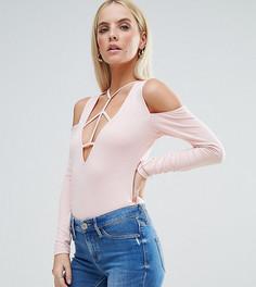 Боди с решетчатой отделкой и открытыми плечами ASOS PETITE - Розовый