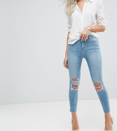 Светлые джинсы скинни с завышенной талией, рваной отделкой и асимметричными краями ASOS PETITE RIDLEY - Синий