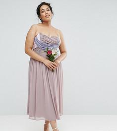 Платье миди в стиле колор блок со сборками ASOS CURVE WEDDING - Мульти
