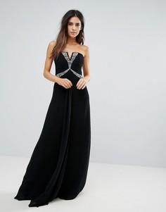 Платье макси бандо с отделкой стразами City Goddess - Черный