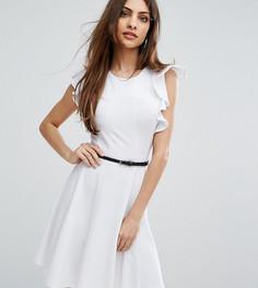 Короткое приталенное платье с рукавами-оборками Lipsy - Белый