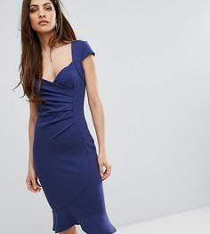 Платье миди с оборкой на подоле Lipsy - Темно-синий