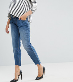Синие джинсы бойфренда с асимметричными краями и вставкой для живота ASOS MATERNITY KIMMI - Синий
