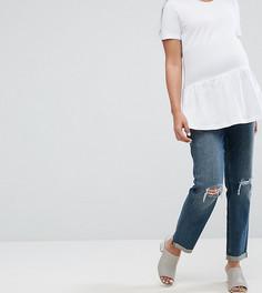 Рваные джинсы бойфренда с посадкой над животом ASOS MATERNITY KIMMI - Синий