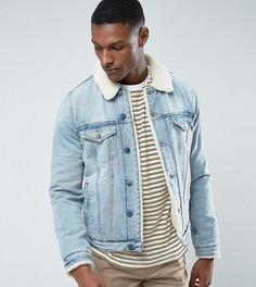 Джинсовая куртка с подкладкой из искуcственного меха ASOS TALL - Синий