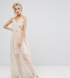 Платье макси с запахом, оборками и звездами металлик True Decadence Petite - Розовый