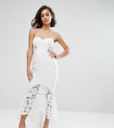 Кружевное платье-бандо миди Jarlo Petite - Белый