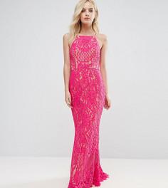 Кружевное платье макси с высокой горловиной Jarlo Petite - Розовый