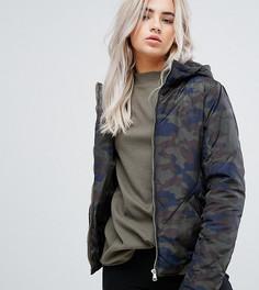 Эксклюзивная камуфляжная дутая куртка с капюшоном Noisy May Petite - Мульти