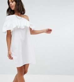 Платье на одно плечо с оборками Noisy May Petite - Белый