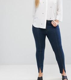 Темные джинсы скинни с классической талией и разрезами по низу ASOS CURVE LISBON - Синий