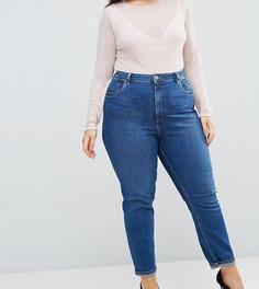Темные джинсы слим в винтажном стиле с завышенной талией ASOS CURVE FARLEIGH - Синий