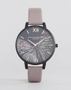 Часы с фиолетовым кожаным ремешком и большим циферблатом Olivia Burton After Dark - Фиолетовый