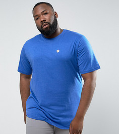 Длинная меланжевая футболка с асимметричным краем Le Breve PLUS - Темно-синий