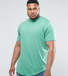 Длинная меланжевая футболка с асимметричным краем Le Breve PLUS - Зеленый