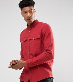 Рубашка навыпуск из ткани с добавлением льна с нагрудными карманами ASOS TALL - Красный