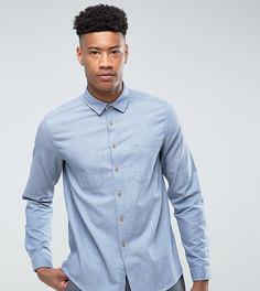Синяя рубашка навыпуск из ткани с узором в елочку ASOS TALL - Синий