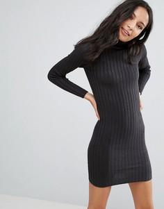 Платье-джемпер в рубчик Brave Soul - Серый