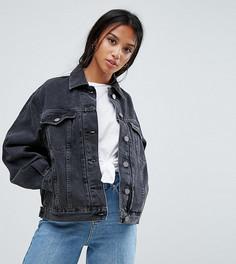 Черная выбеленная джинсовая куртка ASOS PETITE - Черный