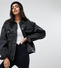 Черная выбеленная джинсовая куртка ASOS TALL - Черный