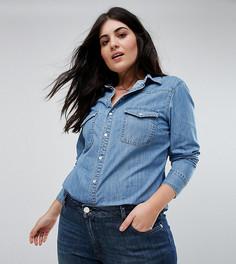 Джинсовая приталенная рубашка в стиле вестерн ASOS CURVE - Синий