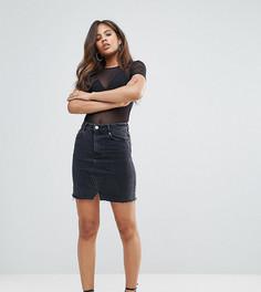 Черная выбеленная джинсовая мини‑юбка ASOS TALL - Черный