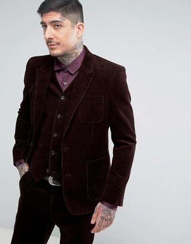 Облегающий пиджак коричневого цвета ASOS Cord - Красный