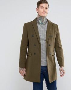 Двубортное пальто с добавлением шерсти Bellfield - Зеленый
