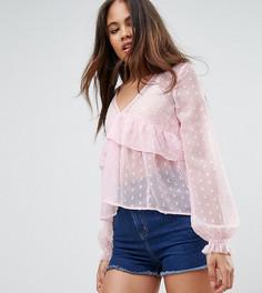 Свободная блузка из ткани добби с V-образным вырезом и оборками ASOS TALL - Розовый
