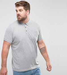 Футболка-поло с короткими рукавами и карманом Brave Soul PLUS - Серый