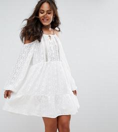 Кружевное приталенное платье с открытыми плечами Glamorous Tall - Белый
