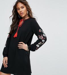 Свободное платье с вышивкой на рукавах Glamorous Tall - Черный