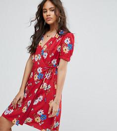 Чайное платье с запахом и цветочным принтом Glamorous Tall - Мульти