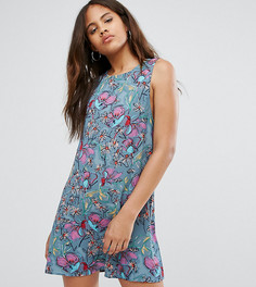 Синее свободное платье без рукавов с цветочным принтом Glamorous Tall - Мульти