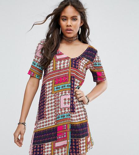 Чайное платье на пуговицах с принтом пэтчворк Glamorous Tall - Мульти