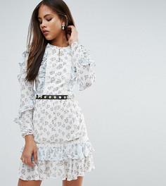 Короткое приталенное платье с цветочным принтом и оборками True Decadence Tall - Мульти