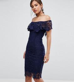 Кружевное платье-футляр с оборками и вырезом лодочкой Paper Dolls Tall - Темно-синий
