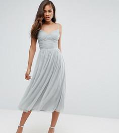 Приталенное платье миди для выпускного из тюля Little Mistress Tall - Зеленый