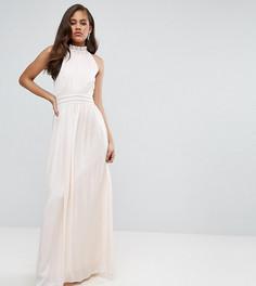 Плиссированное платье макси для выпускного с оборкой Little Mistress Tall - Розовый