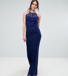 Платье макси с кружевным верхом Little Mistress Tall - Темно-синий