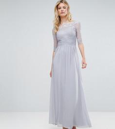 Платье макси с кружевным верхом и рукавами 3/4 Little Mistress Tall - Серый
